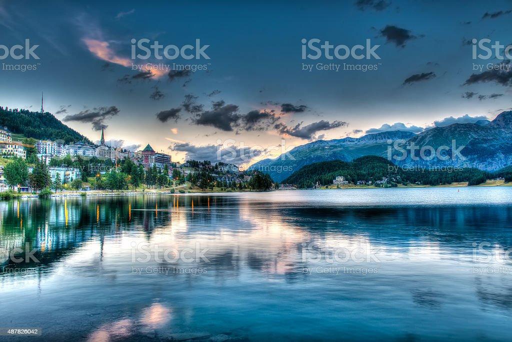 St. Moritz - Switzerland, at sunset stock photo