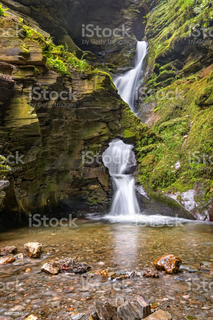 St Nectans Kieve waterfall stock photo