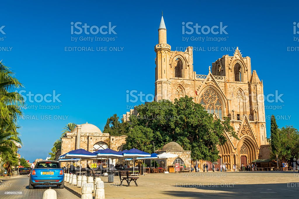 St. Nicholas Cathedral at Mahmut Celaleddin square  in Famagusta, Cyprus stock photo