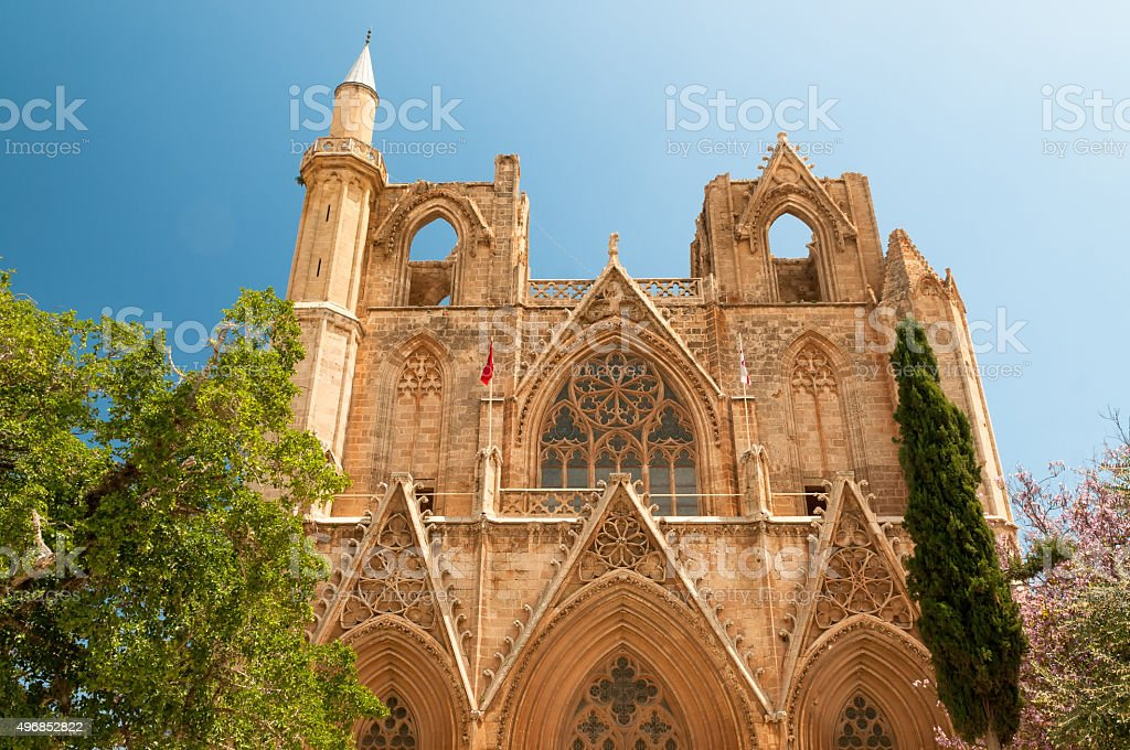 St. Nicholas' Cathedral (Lala Mustafa Mosque). Famagusta, Cyprus stock photo