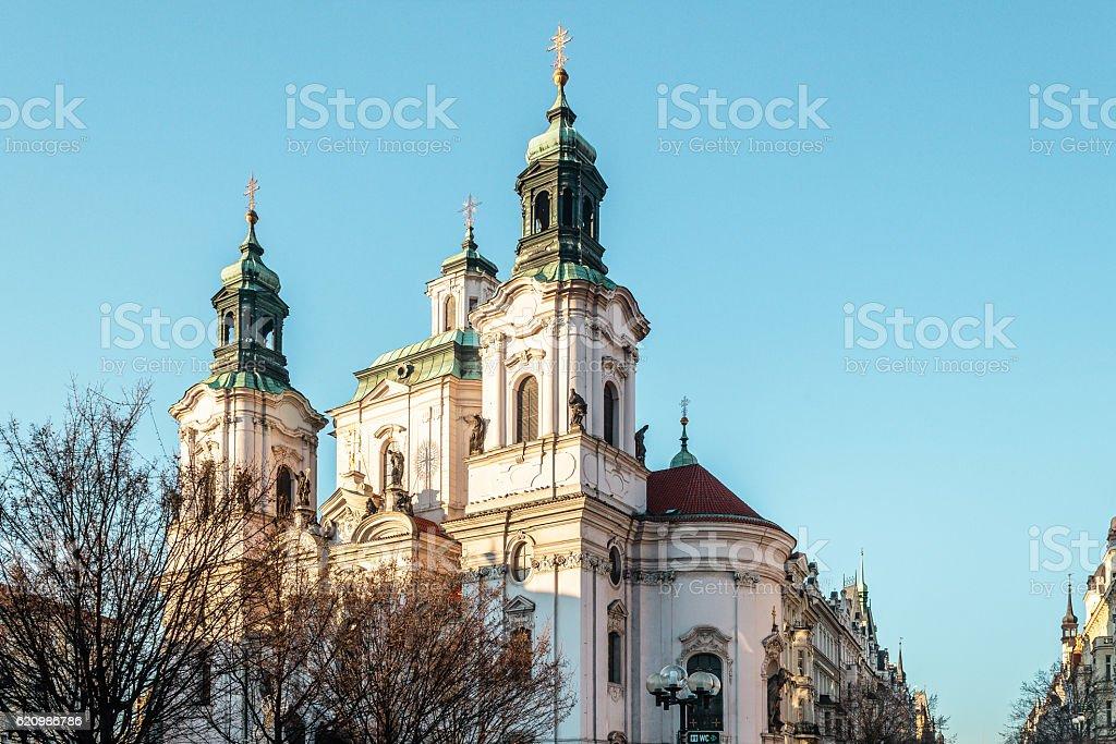 St. Nicholas Church at Prague, Czech Republic stock photo