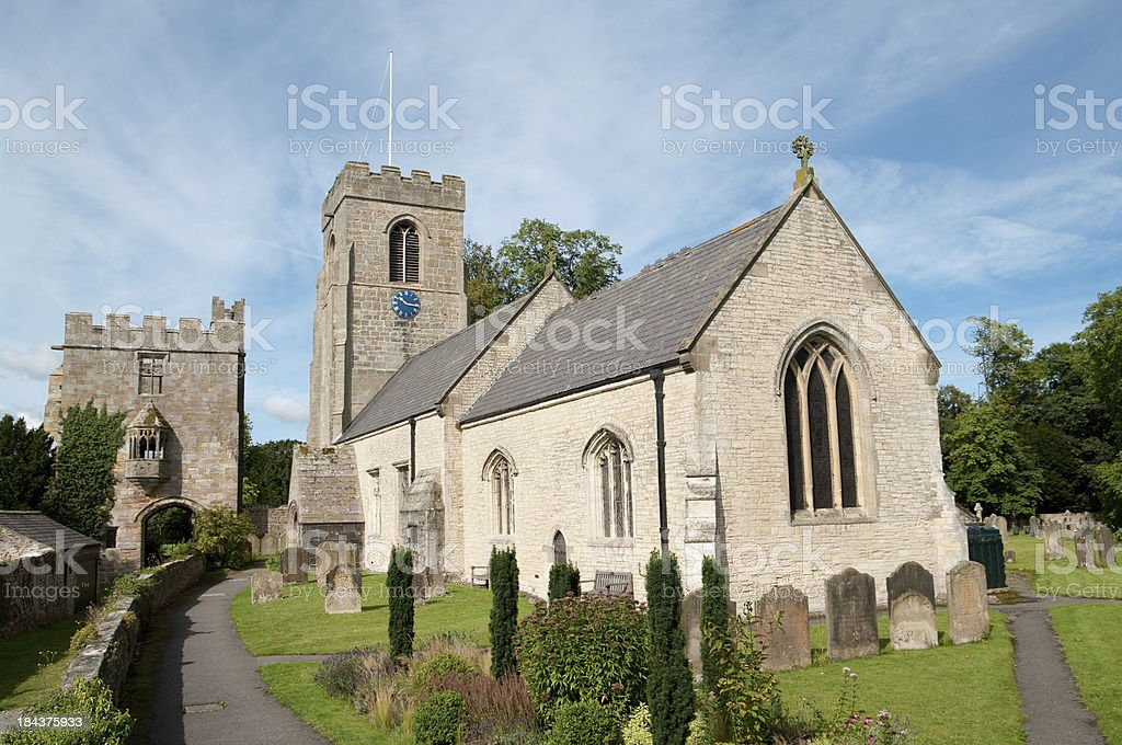 St. Nicholas Church in West Tanfield North Yorkshire stock photo