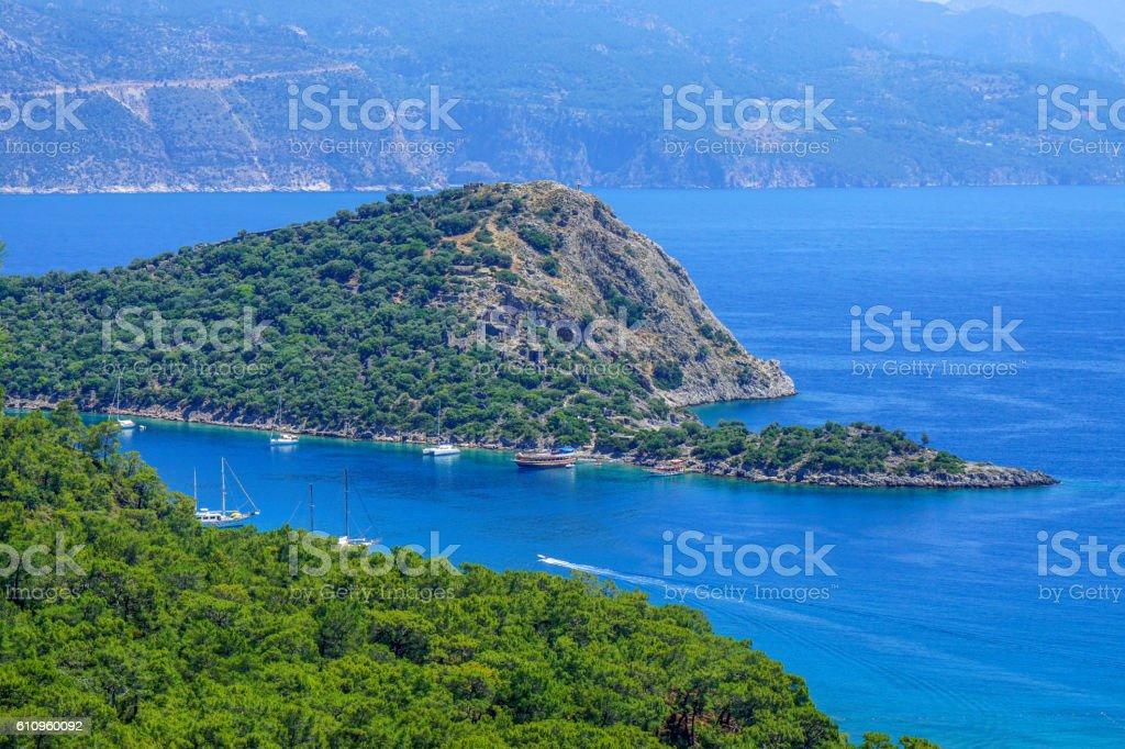 St. Nicholas island from Gemiler bay. Oludeniz. stock photo