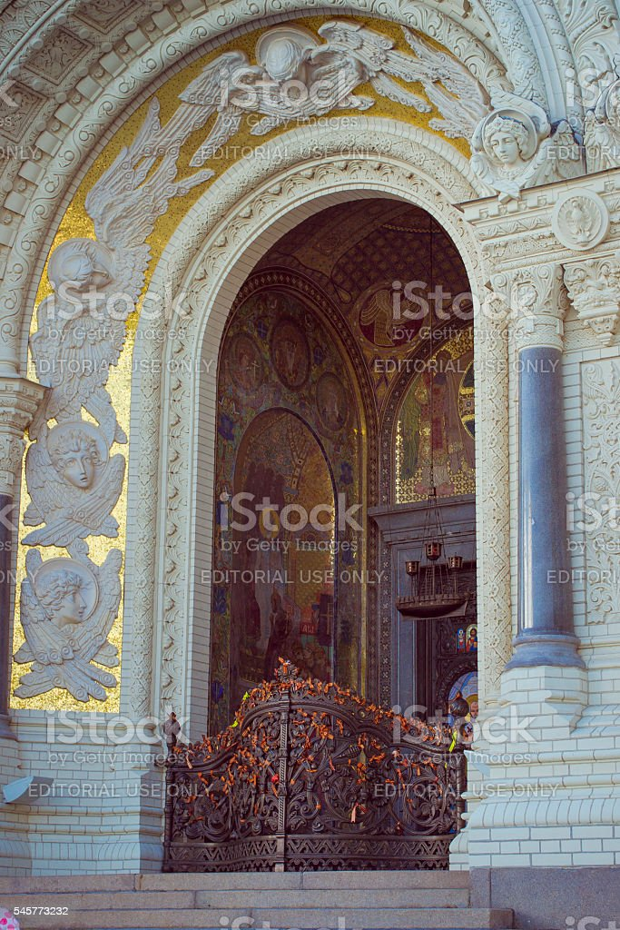 St. Nicholas naval Cathedral in Kronstadt stock photo