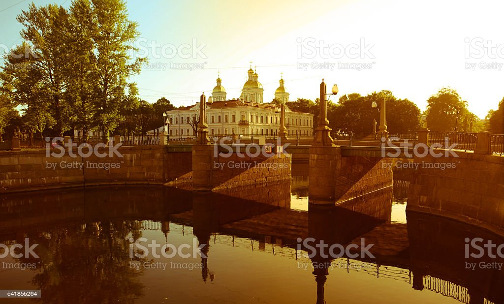 St. Nicholas Orthodox Cathedral in the center of Petersburg, Russia stock photo