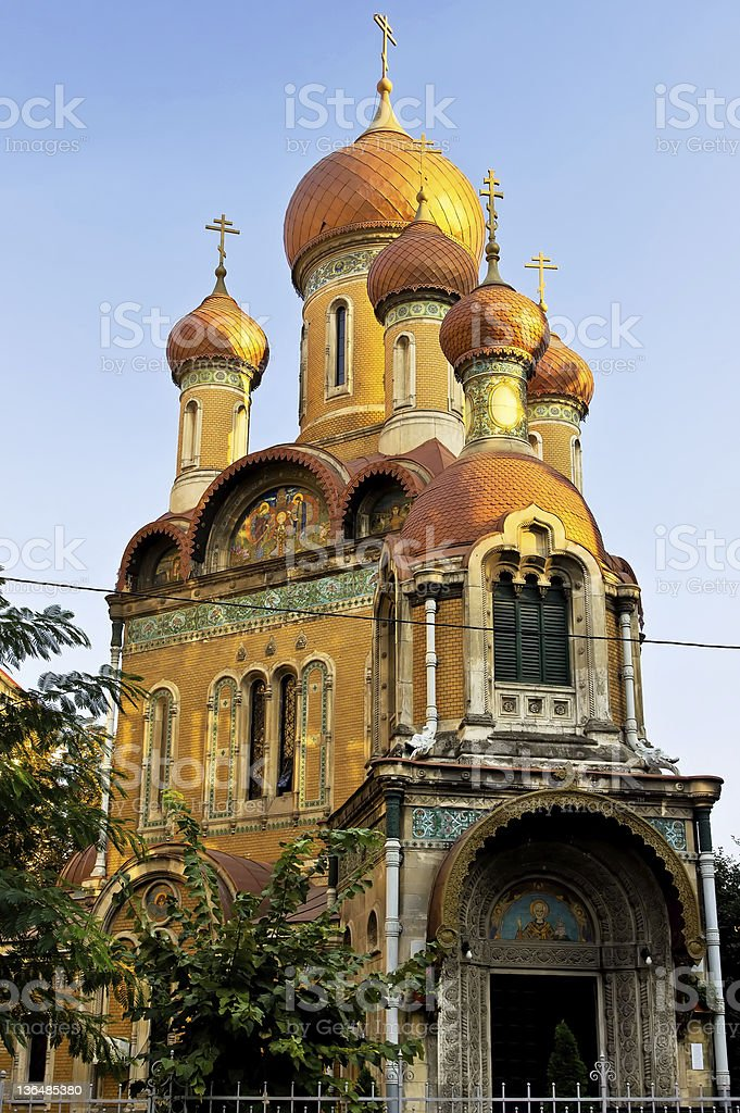 St. Nicholas Russian Church in Bucharest. stock photo