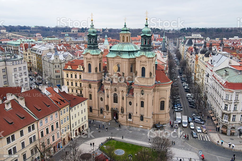 St. Nicholaus Church in Prague Old Town stock photo