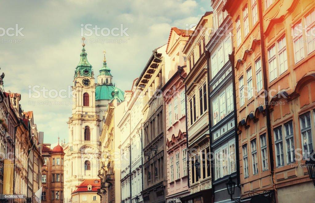 St. Nicolas Church in Mala Strana district of Prague stock photo