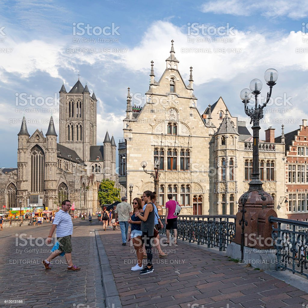 st niklaas church in Ghent seen from michielsbrug stock photo