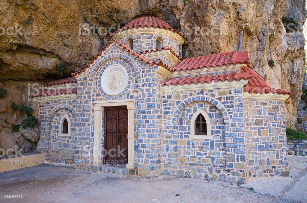 St. Nikolaos church under the mountain, Crete, Greece stock photo