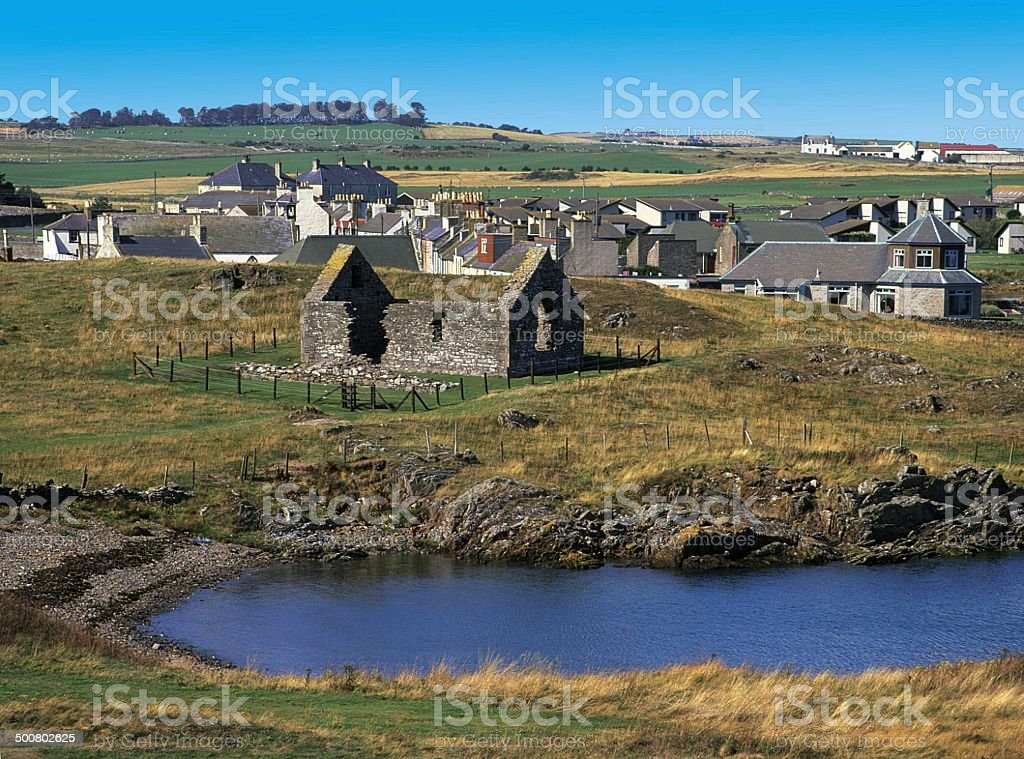 St. Ninian's Chapel, Isle of Whithorn Wigto stock photo