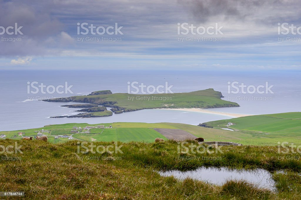 St. Ninian`s Island from above stock photo