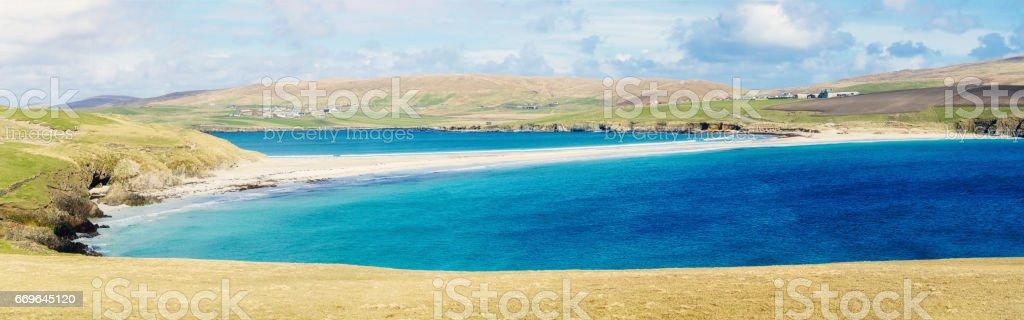 St Ninian's Isle tombolo, Shetland Islands, Scotland stock photo