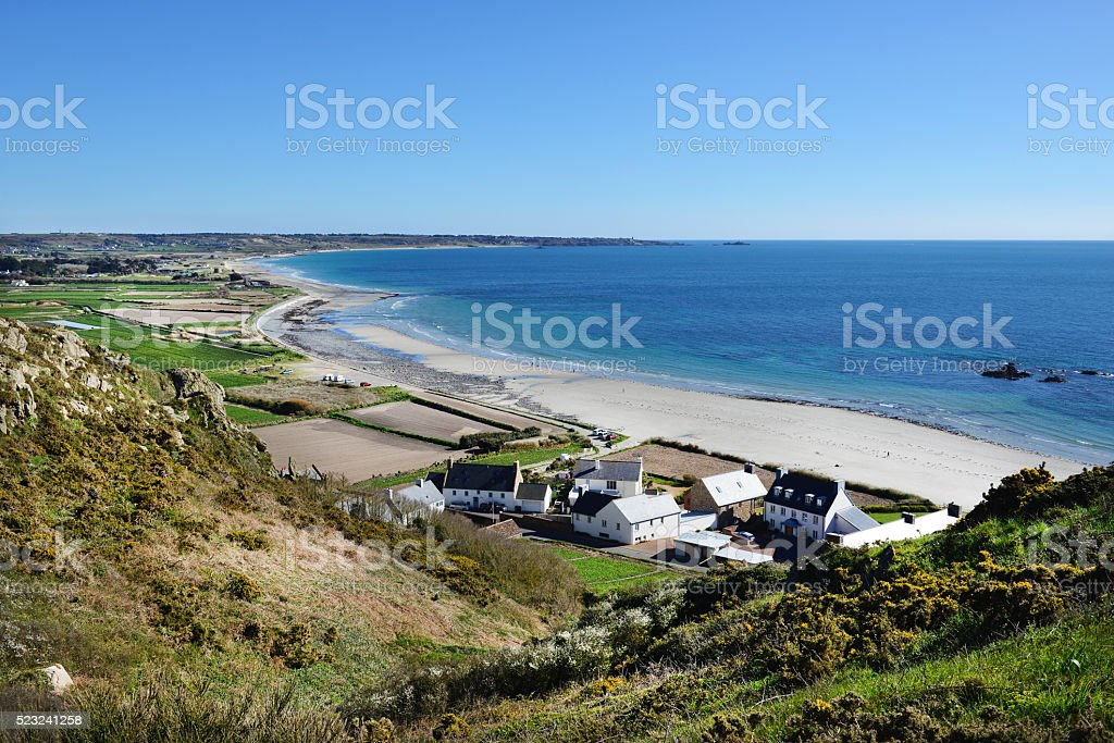St Ouens Bay on the west coast of Jersey. stock photo