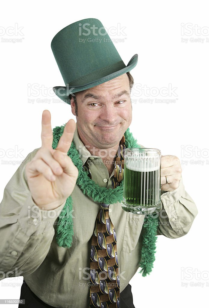 St Paddy's Day Drunk - Peace Sign royalty-free stock photo