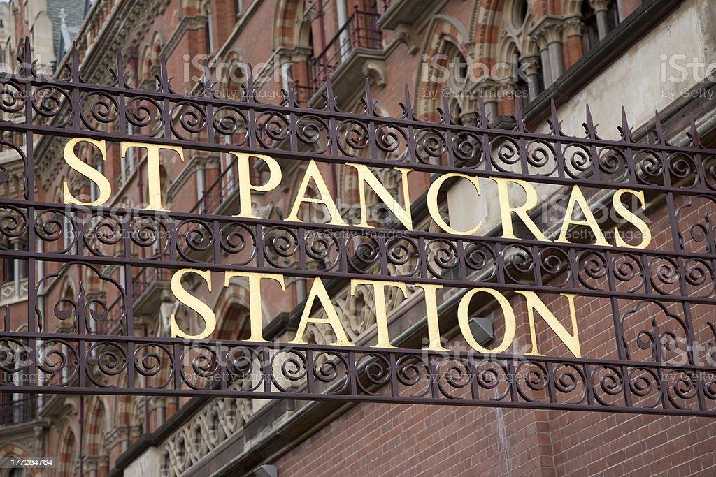 St Pancras International Railway Station Sign stock photo