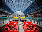St Pancras red buffer stops with Eurostar trains