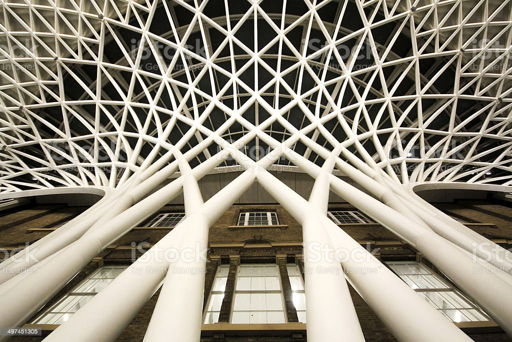 St Pancras reverse waterfall structure from below stock photo