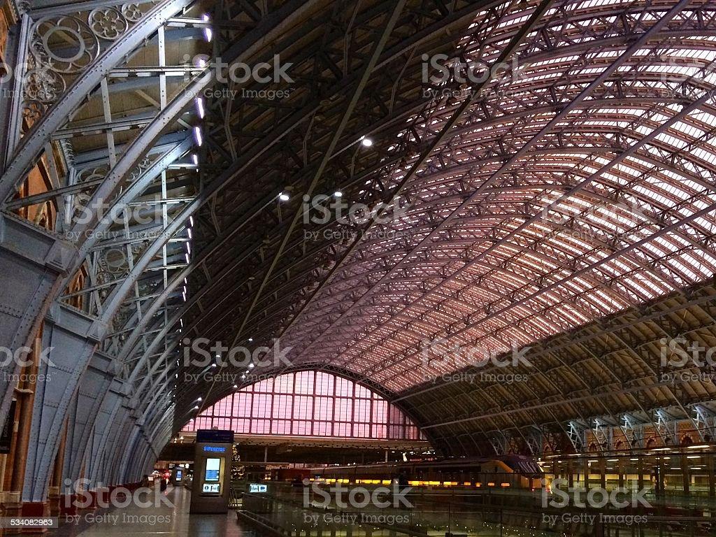 St. Pancras Station Platform Roof at Sunset stock photo