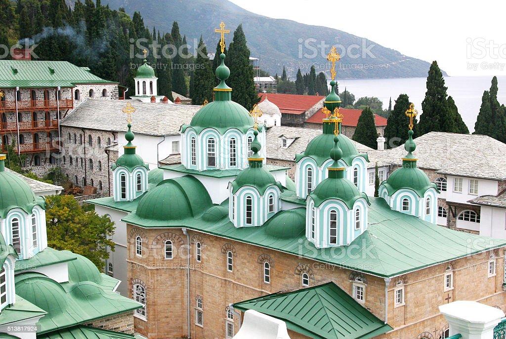 St. Panteleimon Monastery on Mount Athos stock photo