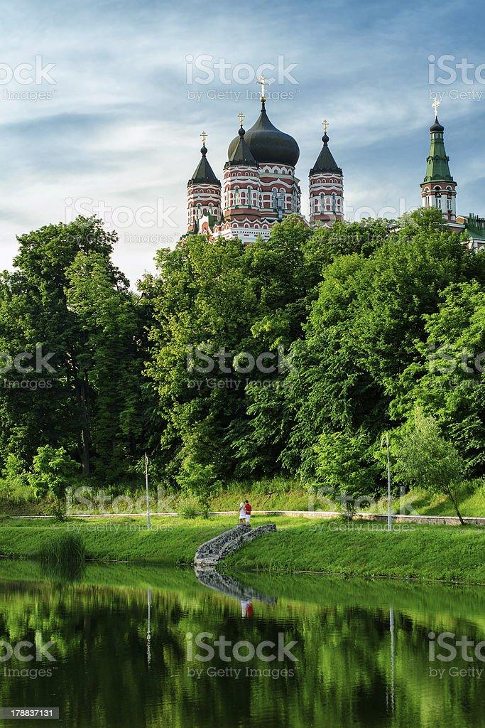 Eglise orthodoxe St. Panteleimon à Feofania (Kiev, Ukraine) photo libre de droits