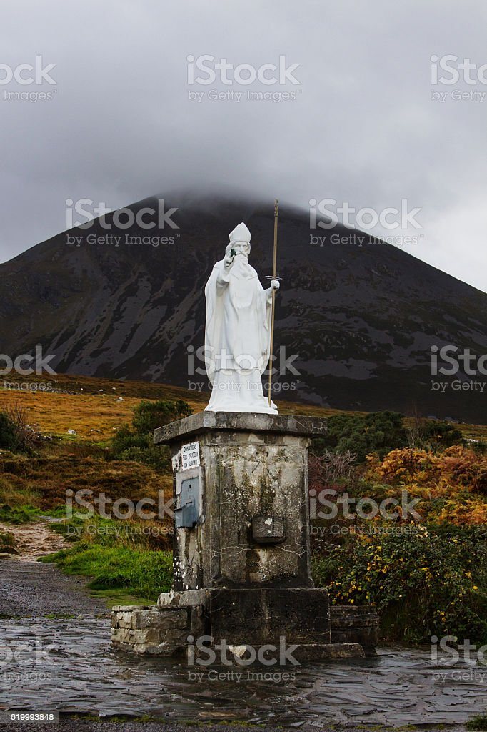 St. Patrick at his Mountain, Croagh Patrick stock photo