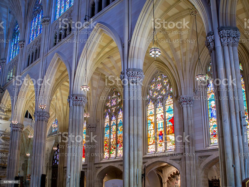 St Patrick Cathedral interior stock photo