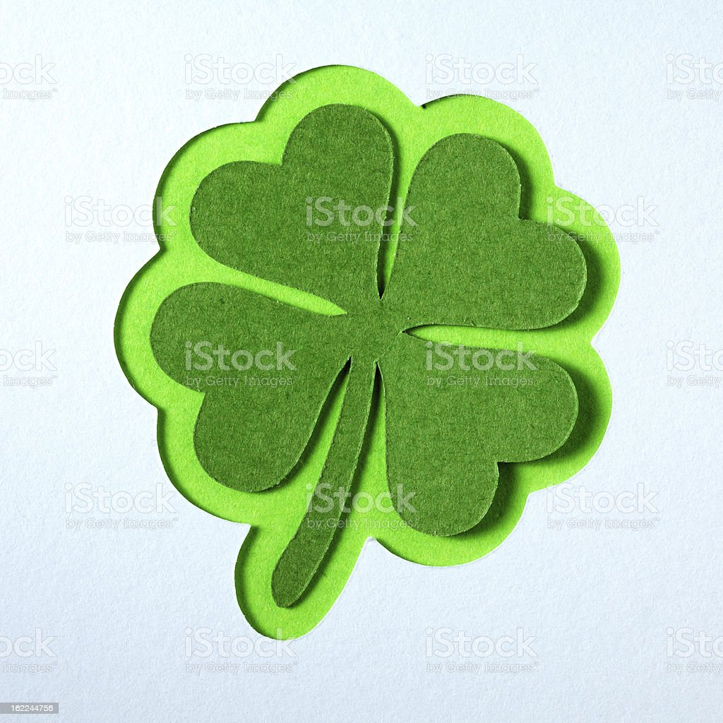 St. Patrick clover cut from paper. royalty-free stock photo