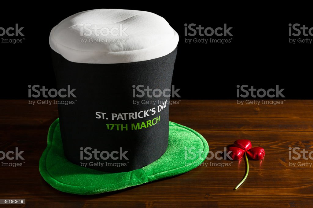St Patrick day with hat and shamrock stock photo