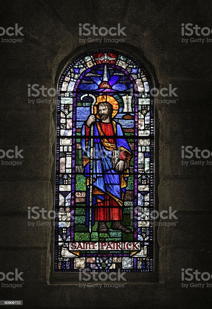 St. Patrick Stained Glass Window stock photo