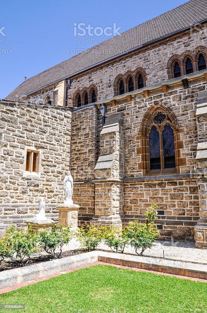 St. Patrick's Basilica: Limestone Brick Architecture stock photo