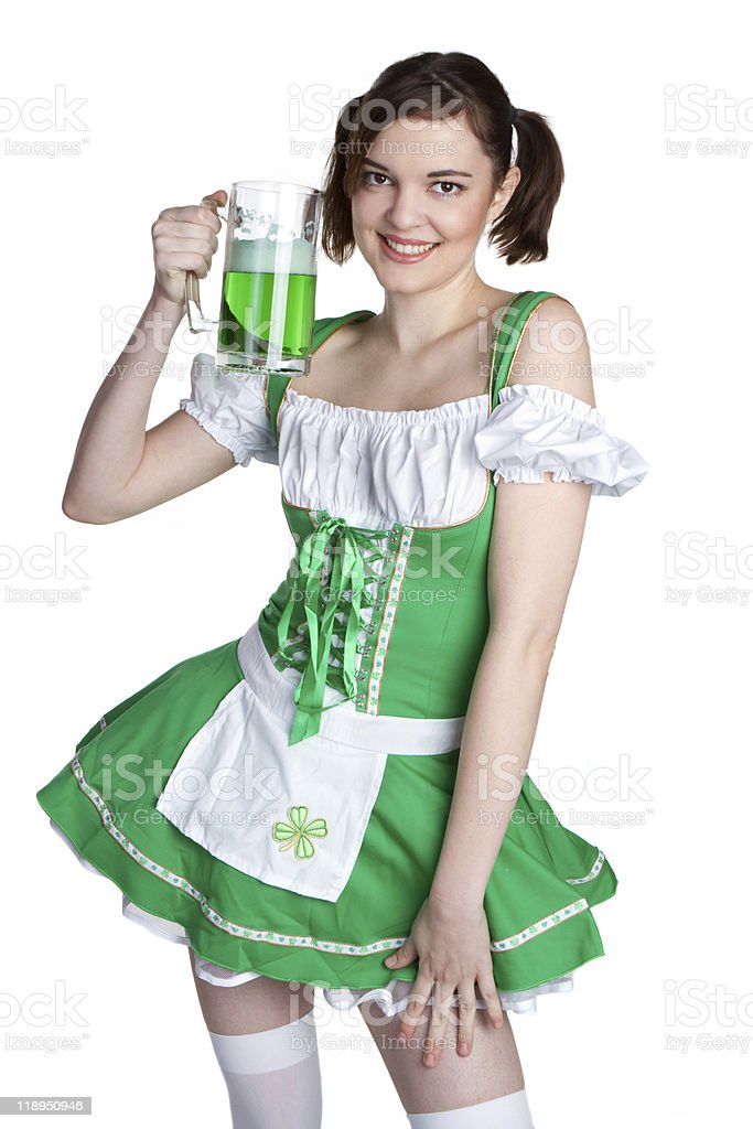St Patricks Beer Woman royalty-free stock photo