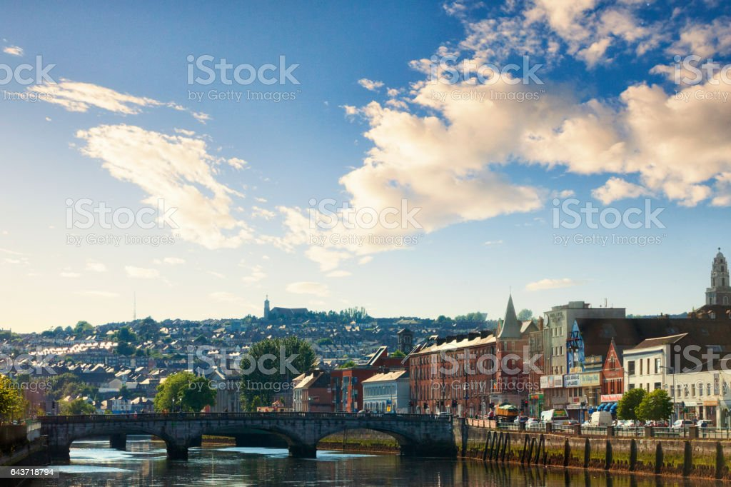 St. Patrick's Bridge spanning the River Lee in Cork, Ireland stock photo