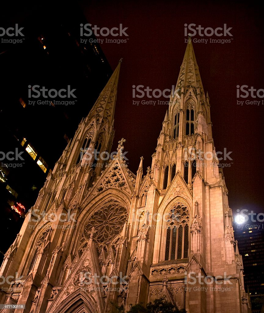 St. Patrick's Cathedral at Night New York City stock photo