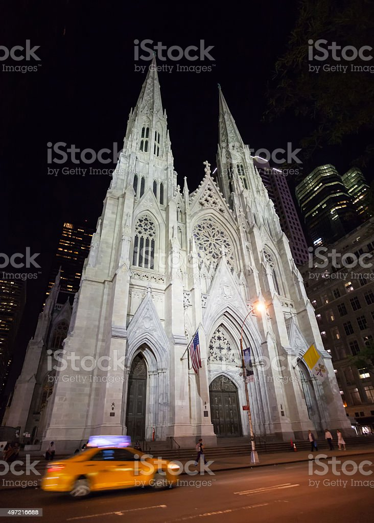St. Patrick's Cathedral at night stock photo