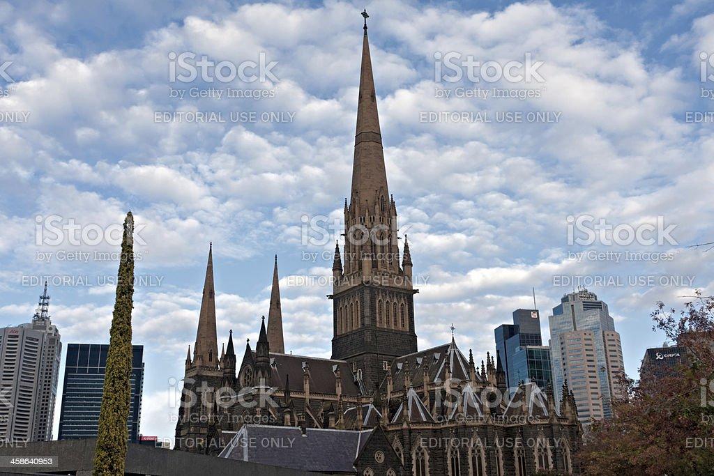 St. Patrick's Cathedral at sunrise. Melbourne. Australia. stock photo