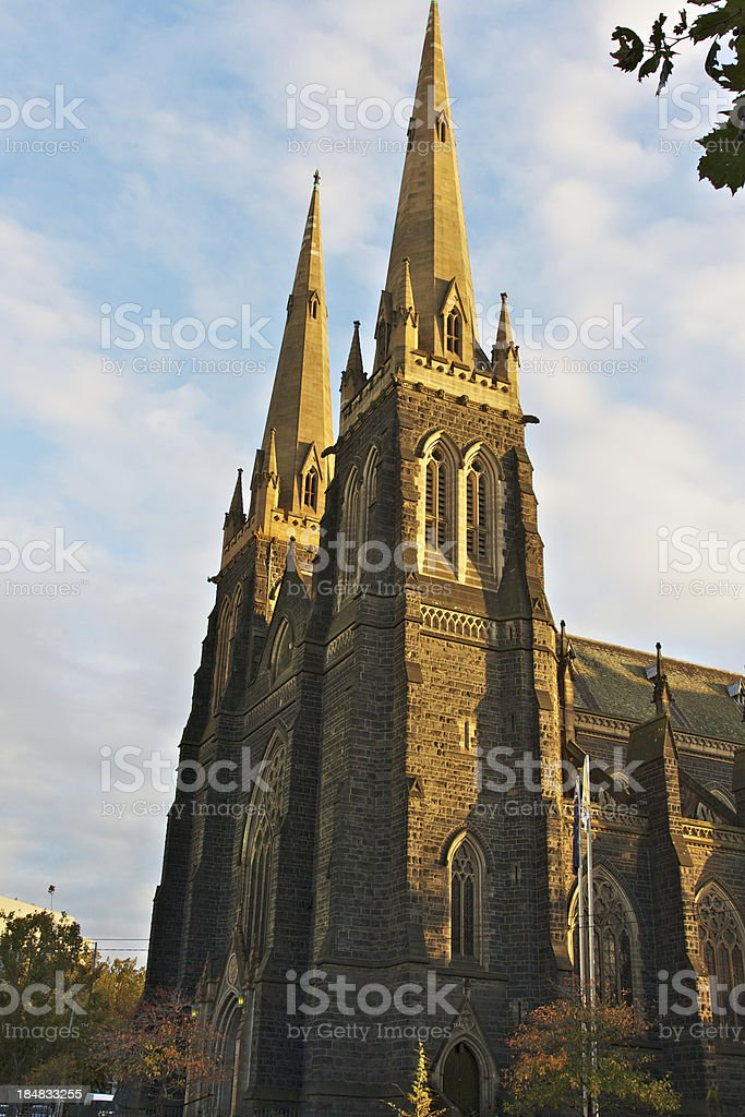 St Patrick's Cathedral in Melbourne at sunrise. stock photo