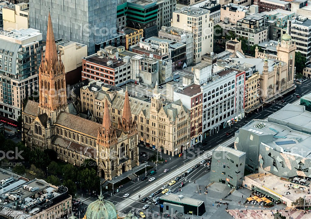 St Patrick's Cathedral in Melbourne stock photo