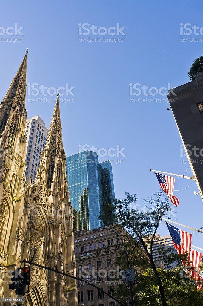 St Patrick's Cathedral Stars Stripes 5th Avenue Manhattan New York royalty-free stock photo