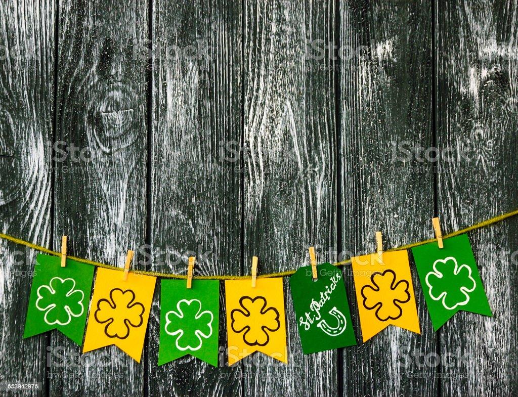 St Patricks day background. Flasks with shamrock clover stock photo