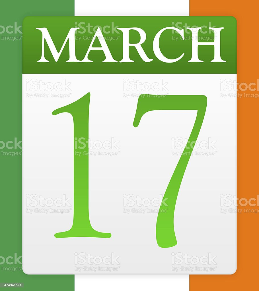 St. Patrick's Day calendar page royalty-free stock photo