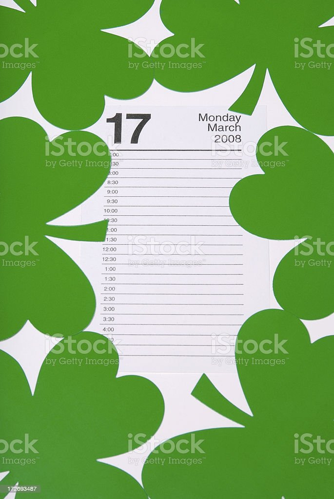 St Patrick's Day Calendar Vertical with Clover stock photo