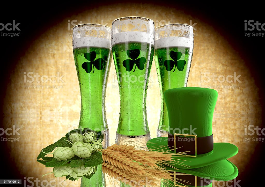 St Patrick's Day concept green beer with shamrock. 3D stock photo