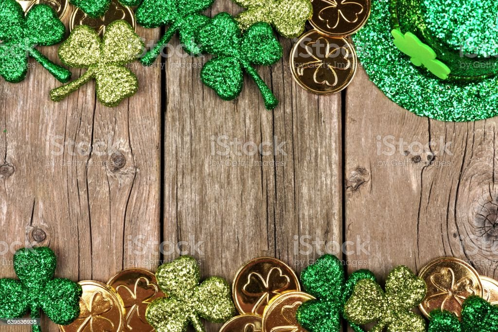 St Patricks Day decor double border over rustic wood stock photo