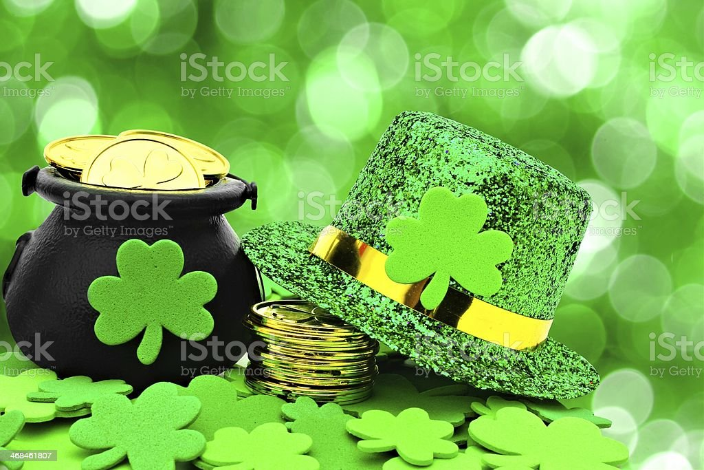 St Patricks Day decor on green background stock photo