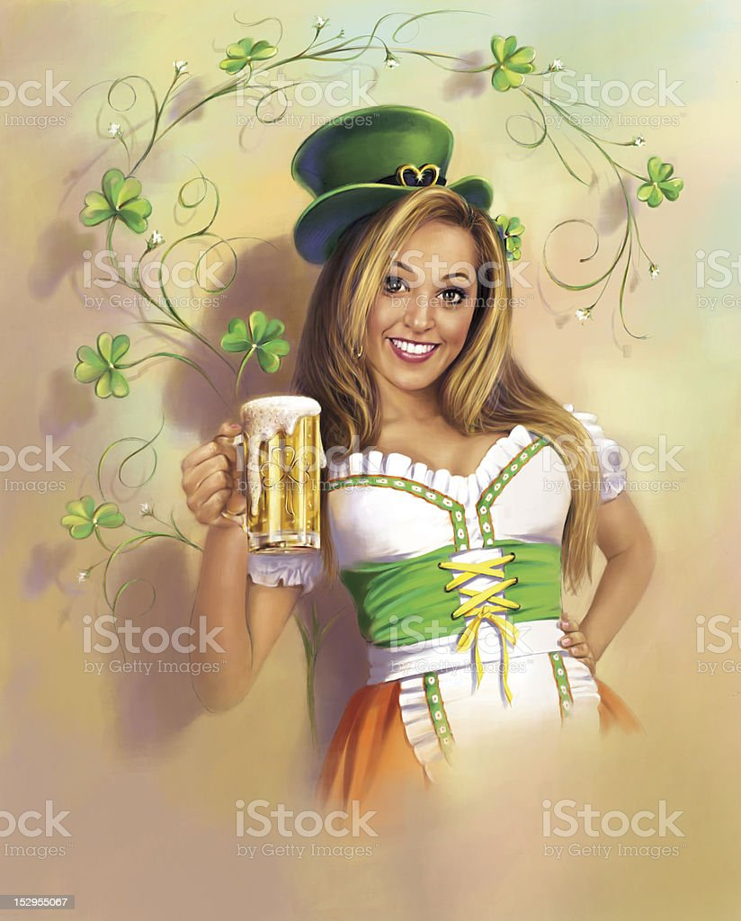 st patrick's day girl stock photo