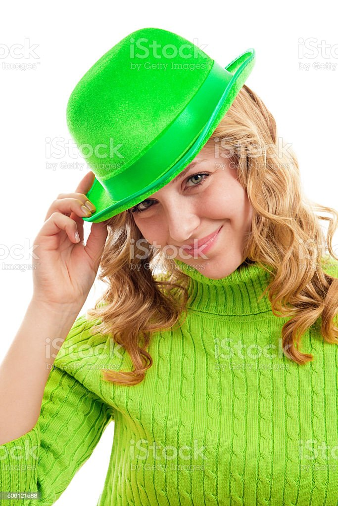 St. Patrick's Day Girl with with Green Hat on White stock photo