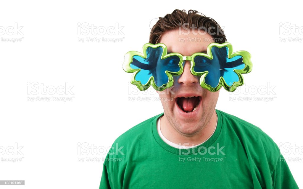 St Patrick's day glasses man stock photo