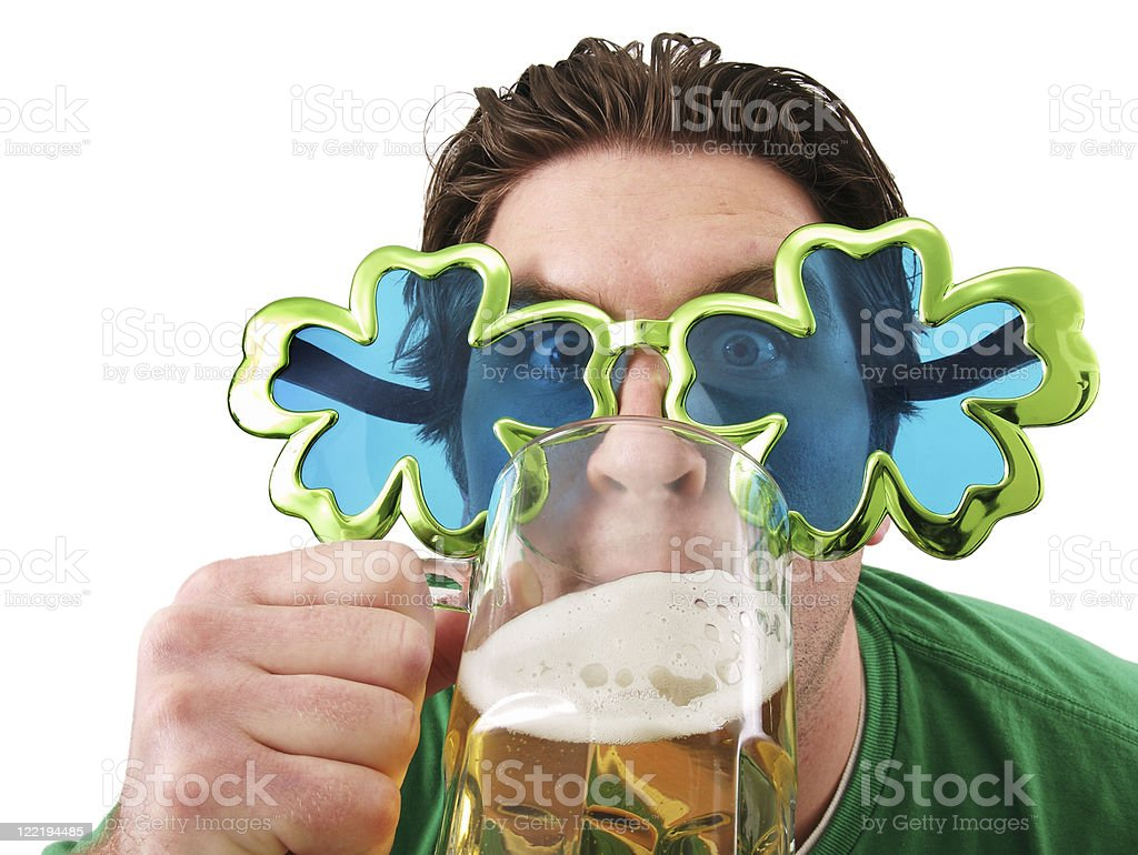 St Patrick's day glasses man royalty-free stock photo