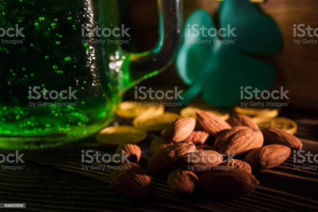 St Patrick's day green beer nuts stock photo